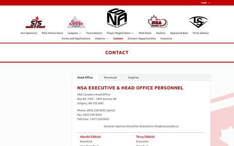 Screenshot of Contact Page nsacanada.ca - Contact | NSA Canada - captured Sept. 21, 2018