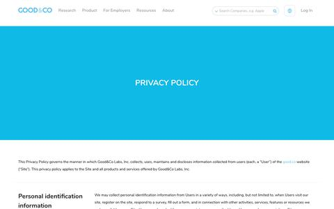 Screenshot of Privacy Page good.co - Privacy Policy - Good & Co - captured May 14, 2018