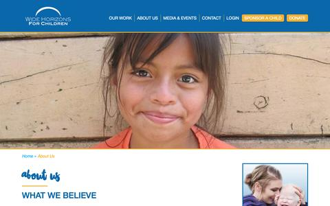 Screenshot of About Page whfc.org - About Us - Wide Horizons for Children - captured Oct. 19, 2018