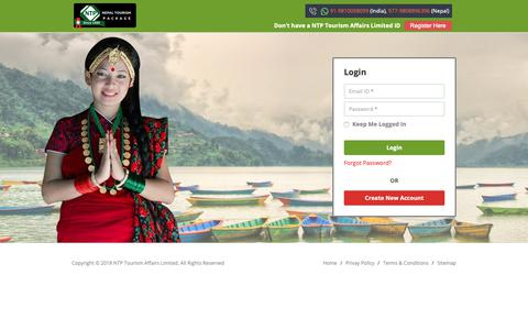 Screenshot of Login Page nepaltourism.net - Login Travel Agent - www.nepaltourism.net - captured Oct. 18, 2018