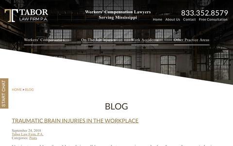 Screenshot of Blog taborlawfirm.net - Blog | Ridgeland, Jackson, MS Lawyers | Tabor Law Firm, P.A. - captured Oct. 19, 2018