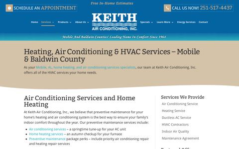 Screenshot of Services Page keithair.com - Heating & Air Conditioning Services | Mobile & Baldwin County - captured Oct. 17, 2017