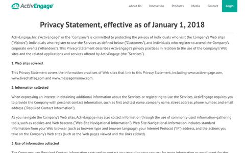 Screenshot of Privacy Page activengage.com - ActivEngage Privacy Policy | ActivEngage - captured Sept. 20, 2019