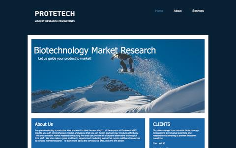 Screenshot of Home Page protetech.com - Protetech Biotechnology Market Research Consultants - captured Oct. 3, 2014