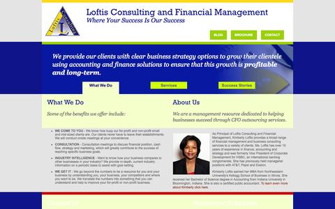Screenshot of Home Page loftisconsulting.com - Loftis Consulting and Financial Management - Your resource for start-up and business consulting services to take your business to the next level of profitability - captured Sept. 30, 2014