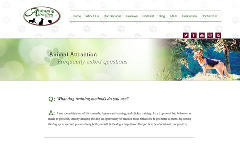 Screenshot of FAQ Page petdogtrainer.com - Dog training FAQs - captured Nov. 21, 2016