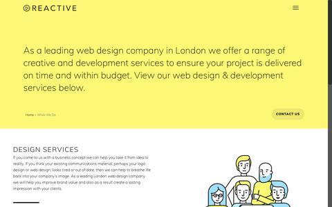 Screenshot of Services Page web-designlondon.co.uk - London Web design Company   Reactive Graphics - captured Oct. 19, 2018