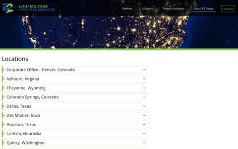 Screenshot of Locations Page e2optics.com - Locations - E2 Optics - captured July 30, 2018