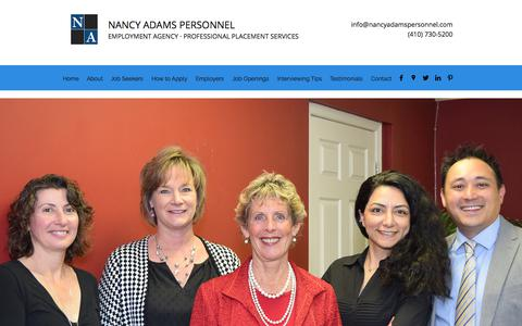 Screenshot of About Page nancyadamspersonnel.com - About | Nancy Adams Personnel - captured Nov. 15, 2017