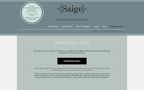 Screenshot of Login Page saigeconsignment.com - Consignor Login - captured Sept. 28, 2016
