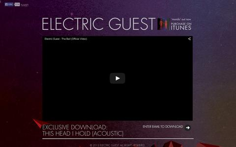 Screenshot of Home Page electricguest.com - Electric Guest - captured Sept. 28, 2015