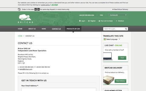Screenshot of Contact Page brit-car.co.uk - Contact Us >Home > Britcar (UK) Ltd - captured Sept. 22, 2014