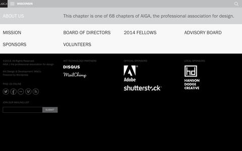 Screenshot of About Page aiga.org - AIGA Wisconsin | About Us - captured Sept. 18, 2014