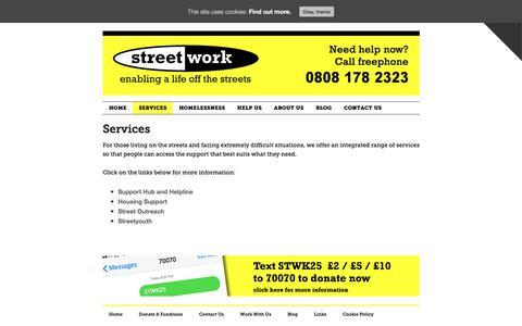 Screenshot of Services Page streetwork.org.uk - Services - Streetwork - Enabling a life off the streets - captured Nov. 9, 2017