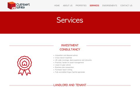 Screenshot of Services Page cuthbertwhite.com - Commercial rental property agents and investment consultancy for landlords, property acquisition services and advice for tenants UK. - captured Sept. 27, 2018