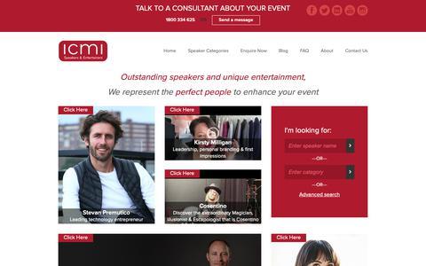 Screenshot of Home Page icmi.com.au - International & Australian Motivational Speakers | ICMI Speakers Bureau - captured Oct. 1, 2018