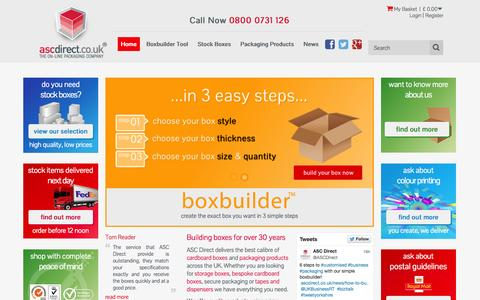Screenshot of Home Page ascdirect.co.uk - Packaging Supplies | Cardboard Boxes | Custom Boxes - captured Sept. 24, 2014