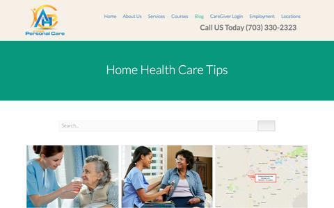 Screenshot of Blog homepersonalcareva.com - Home Health Care Tips - captured Oct. 9, 2017