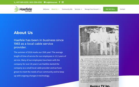 Screenshot of About Page htva.net - About Us | Local Internet Providers, Enfield, NY | Haefele Connect - captured Sept. 26, 2018