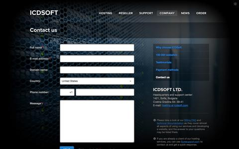 Screenshot of Contact Page icdsoft.com - Contact us - ICDSoft - captured Nov. 2, 2014