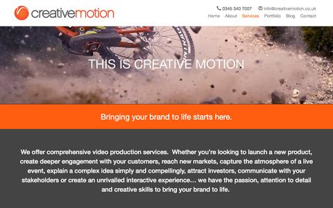 Screenshot of Services Page creativemotion.co.uk - Services | Video Production Company Kent | Creative Motion - captured Nov. 13, 2016