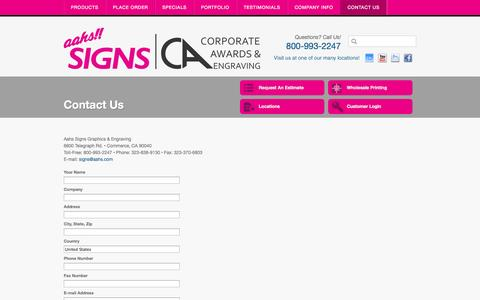 Screenshot of Contact Page aahssigns.com - Aahs Signs Los Angeles California Sign Company, LA Digital Graphics, CA - captured Oct. 4, 2014