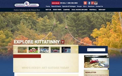 Screenshot of Home Page kittatinny.com - Delaware Canoeing | Kayaking The Delaware River | White Water Rafting | Poconos Zip Lining - captured Sept. 19, 2014