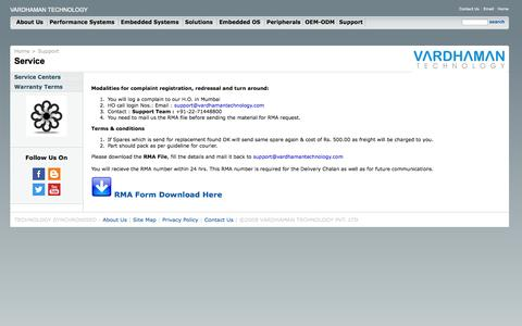 Screenshot of Support Page vardhamantechnology.com - VARDHAMAN TECHNOLOGY | Support - captured Oct. 7, 2014