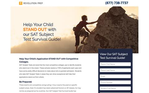 Screenshot of Landing Page revolutionprep.com - SAT Subject Test Survival Guide - captured Sept. 4, 2017