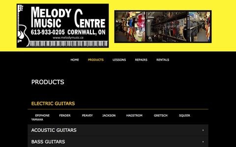 Screenshot of Products Page melodymusic.ca - Melody Music Centre - PRODUCTS - captured Nov. 28, 2016
