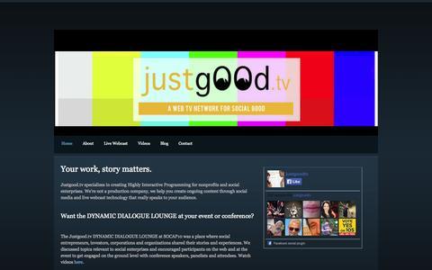 Screenshot of Home Page justgood.tv - Justgood.tv - Home - captured Oct. 6, 2014