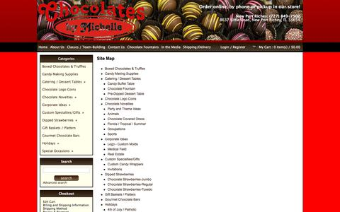Screenshot of Site Map Page chocolatesbymichelle.com - Gourmet Chocolate, Gift Baskets, Truffles, Corporate Gifts, Chocolate Strawberries, Party Favors, Chocolate Fountains, Candy, Corporate Gifts & More - captured July 17, 2018