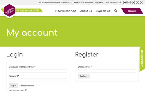 Screenshot of Login Page stelizabethhospice.org.uk - My account - St Elizabeth Hospice - captured Nov. 17, 2018