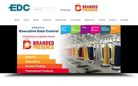 Screenshot of Home Page About Page Team Page edcmktg.com - Executive Data Control Printing Services Springfield MO -Printing Services |  Apparel  | Embroidery | Online Inventory Systems - captured Oct. 3, 2014