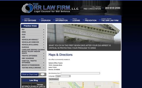 Screenshot of Maps & Directions Page orrlaw.com - Maps and Directions to Denver DUI Law Firm | The Orr Law Firm, LLC - captured Oct. 7, 2014