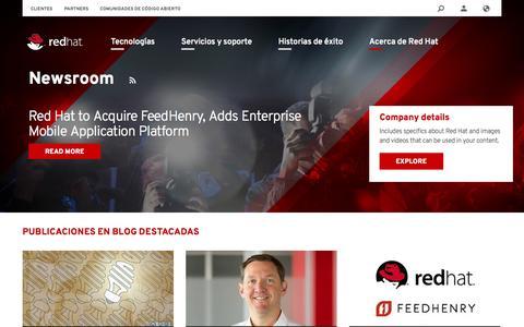 Screenshot of Press Page redhat.com - Newsroom   Red Hat - captured Oct. 27, 2014