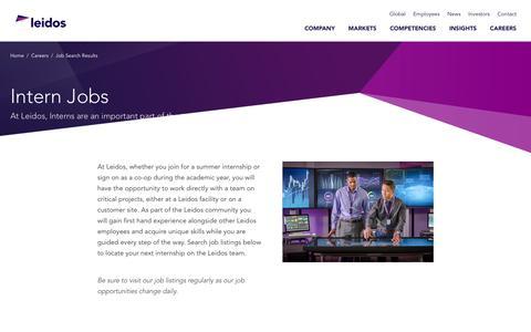 Screenshot of Jobs Page leidos.com - Intern Jobs - captured Jan. 29, 2019