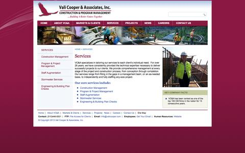 Screenshot of Services Page valicooper.com - SERVICES - captured Oct. 9, 2014