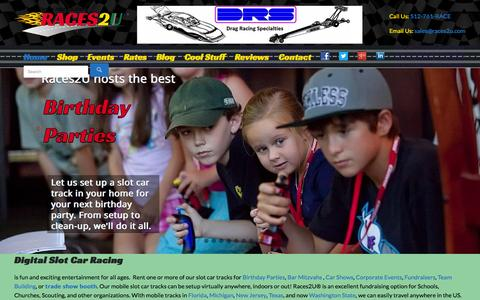 Screenshot of Home Page races2u.com - Rent Digital Slot Car Racing Tracks for Parties and Events - captured Oct. 1, 2015