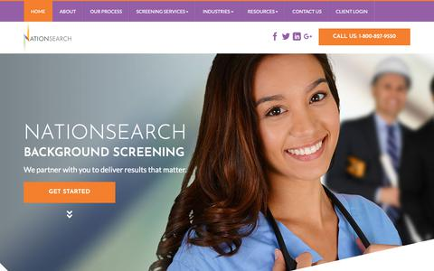 Screenshot of Home Page nationsearch.com - Welcome To NationSearch | Background Screenings & Employment Verification Services - captured Feb. 19, 2019