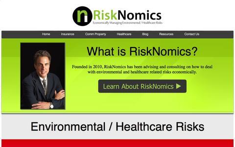 Screenshot of Home Page risknomicsllc.com - RiskNomics - captured Sept. 30, 2014