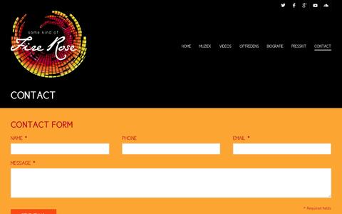 Screenshot of Contact Page firerose.nl - Contact - Some Kind of Fire Rose - captured Oct. 6, 2014
