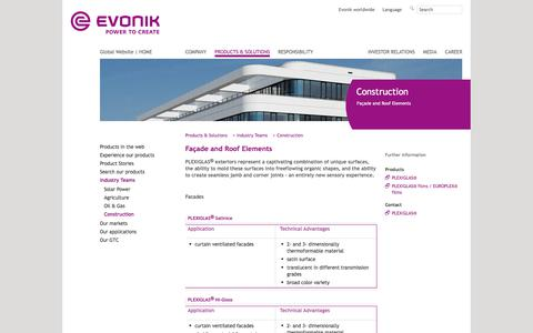 Facade and Roof Elements - Construction Industry - Evonik Industries - Specialty Chemicals