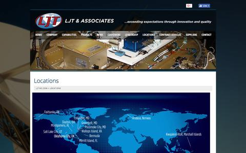 Screenshot of Locations Page ljtinc.com - LJT & Associates - captured Sept. 25, 2018