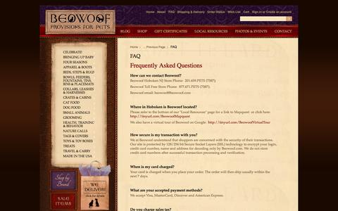 Screenshot of FAQ Page beowoof.com - FAQ - captured Oct. 5, 2014