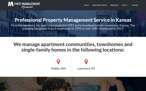 Screenshot of About Page firstmanagementinc.com - About Us - First Management Inc. Property Management in Kansas - captured Aug. 13, 2018