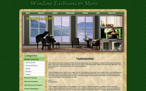 Screenshot of Testimonials Page windowfashionsandmore.com - Testimonials | Window Fashions & More - captured Oct. 30, 2014