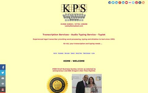 Screenshot of Home Page kemp-professional-services.co.uk - Audio Typing Transcription Services University/Research/Interviews/PhD - captured Oct. 6, 2014