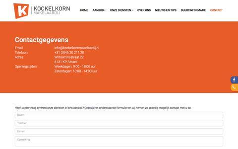 Screenshot of Contact Page kockelkornmakelaardij.nl - Contact opnemen - captured Sept. 20, 2018