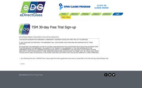 Screenshot of Trial Page edirectglass.com - eDirectGlass - TSM Subscription Form - captured Dec. 14, 2015